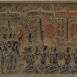 A Southeast Asian Stone Relief Carving of a Procession - 東南亞浮雕宗教遊行圖石板