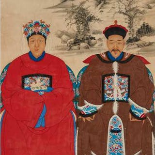 A Chinese Ancestor Couple Portrait, 20th Century - 二十世紀 中國祖先畫像