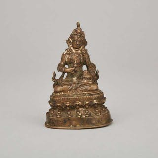 An Antique Tibetan Copper-Alloy Figure of Seated Vajrasattva - 西藏 銅合金金刚萨埵座像