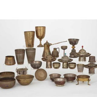 A Group of Twenty-Seven Indian Bronze Vessels, 19th/20th Century -