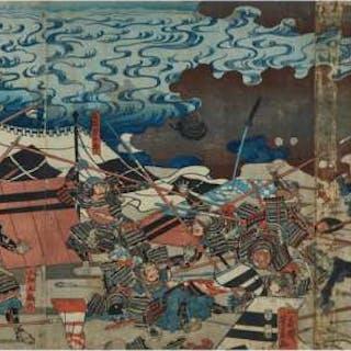 Utagawa Yoshikazu (Active 1850-1870), Battle at Kawanaka-Jima - 歌川芳員