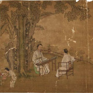 After Chen Juzhong (Southern Song), Two Chinese Figural Painting Fragments
