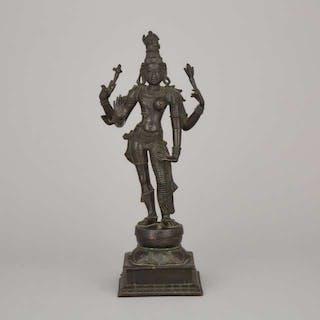 A Large Bronze Figure of Shiva Ardhanarishvara, 18th Century - 十九世紀 銅雪山神女立像