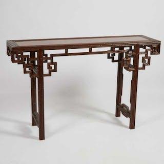 A Hardwood 'Imitation Bamboo' Parquet Top Altar Table - 硬木竹節式條桌