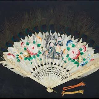 A Chinese Export Peacock Feather and Bone Fan, Early 20th Century