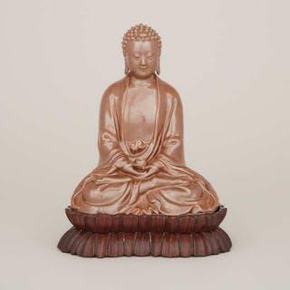A Cafe-au-Lait Glazed Porcelain Buddha, Mark of Zeng Longsheng (1901-1964)