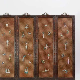 A Set of Four Porcelain Inlaid Panels, 19th Century - 十九世紀 酸枝鑲嵌瓷博古圖四扇掛屏