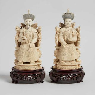An Ivory Carved Seated Emperor and Empress Pair, Circa 1940 - 約1940年 牙雕帝後坐像一對