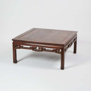 A Rosewood Carved Square 'Kang' Table - 花梨雕如意紋炕几