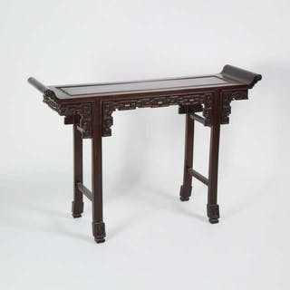 A Chinese Hardwood Altar Table - 硬木雕拐子紋翹頭案