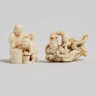 Two Ivory Carved Figural Netsuke, Edo/Meiji Period - 江戶/明治時期 牙雕天女人物根付一組兩件
