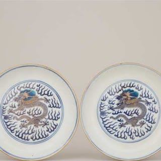 A Pair of Gilt Blue and White Dragon Plates, Guangxu Mark and Period