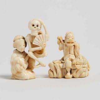Two Ivory and Bone Carved Figural Netsuke, Edo/Meiji Period - 江戶/明治時期