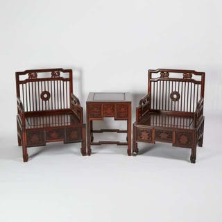 A Set of Two Huali Low Spindle-Back Armchairs and Low Table - 花梨梳背椅矮方桌一套三件