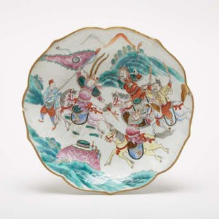 A Famille Rose 'Three Kingdoms' Footed Bowl, Tongzhi Mark - 粉彩'三英
