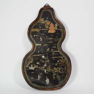 A Jade Inlaid and Gilt Decorated Black Lacquer Panel - 黑漆木描金嵌玉山水人物花鳥紋葫蘆式大掛屏