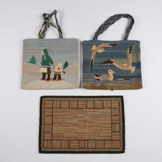 Two Grenfell Labrador Industries Hooked Hand Bags, c.1930 and 1950 -