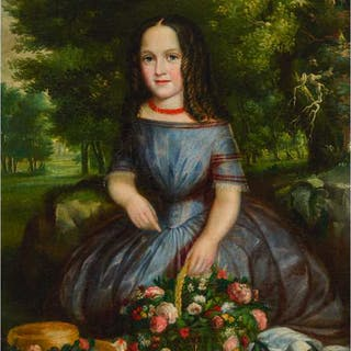 ROBERT REGINALD WHALE, O.S.A., A.R.C.A. - PORTRAIT OF A GIRL IN A LANDSCAPE