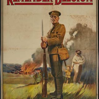 British World War I 'Remember Belgium' Recruiting Poster, c.1915 -