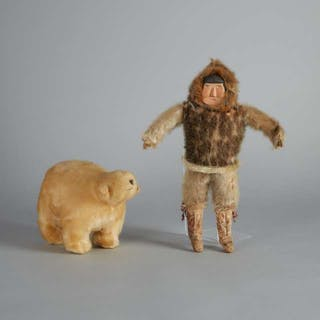 Grenfell Labrador Industries Sealskin Inuit Doll and Polar Bear, c.1930 -