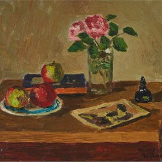 WILLIAM GOODRIDGE ROBERTS, R.C.A - STILL LIFE WITH ROSES, APPLES AND BOOK