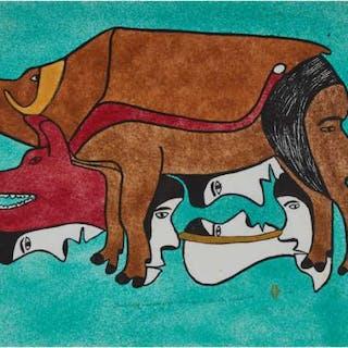 SIMON TOOKOOME (1934-2010), Baker Lake / Qamani'tuaq - THINKING OF ANIMALS