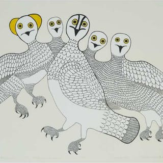 KEELEEMEEOOMEE SAMUALIE (1919-1983), Cape Dorset / Kinngait - A PARTY OF OWLS