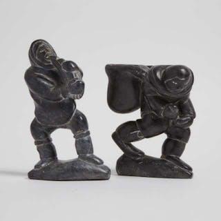 LEVI QUMALUK (1919-1997), Povungnituk / Puvirnituq - MAN WITH HEAVY PACK