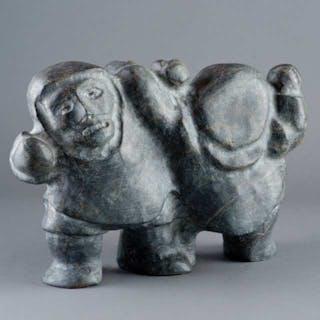 PETER SEVOGA (1940-2007), Baker Lake / Qamani'tuaq - TWO WRESTLING FIGURES