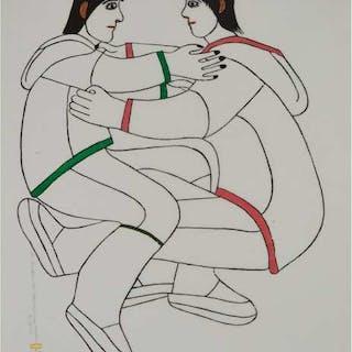 JANET KIGUSIUQ (1926-2005), Baker Lake / Qamani'tuaq - THE WRESTLERS