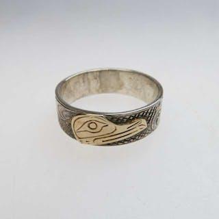 Lloyd Wadhams Jr. Kwakwaka'wakw Nation Sterling Silver Ring With Gold Overlay -