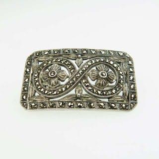 Theodor Fahrner German Sterling Silver Rectangular Brooch -