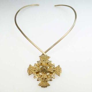 Celia Harms Sterling Silver Gilt Collar Necklace -