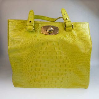 Furla Chartreuse Leather Two Handle Handbag -