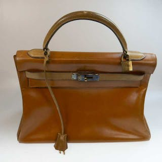 Hermes Kelly Top Handle Gold Leather Bag -