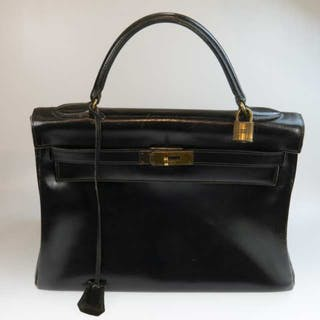 Hermes Kelly Top Handle Black Leather Bag -