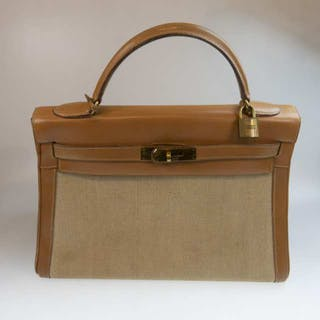Hermes Kelly Top Handle Tan Leather Bag -