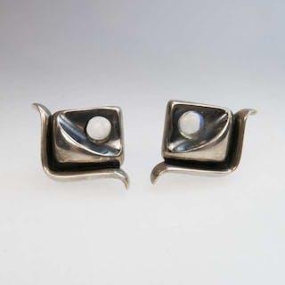 Pair Of Antonio Pineda Mexican Silver Screwback Earrings -