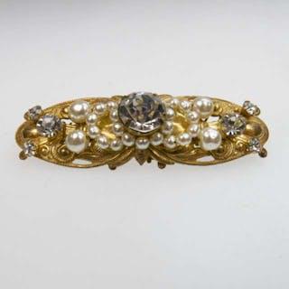 Miriam Haskell Gold Tone Metal Brooch -