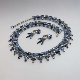 Sherman Silver Tone Metal Necklace And Earrings -