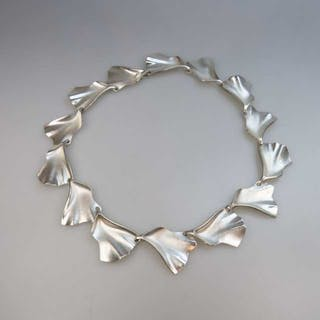 Lapponia Finnish Sterling Silver Abstract Link Necklace -