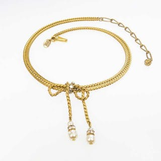 Miriam Haskell Gold-Tone Metal Necklace -