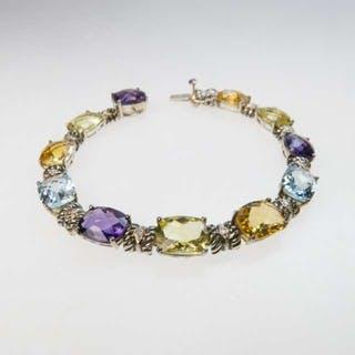 Sterling Silver And 14k Yellow Gold Bracelet -