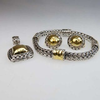 Four Piece John Hardy Sterling Silver And 22k Yellow Gold Jewellery Suite -