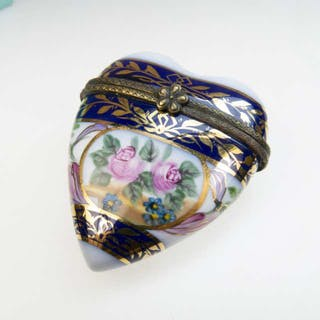 French Porcelain Heart-Shaped Trinket Box -