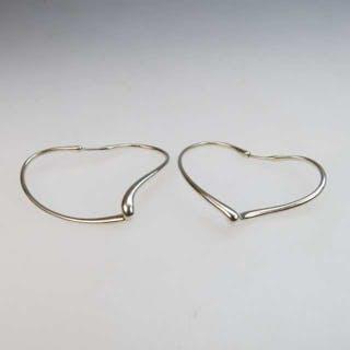 Pair Of Tiffany & Co. Elsa Peretti Sterling Silver Heart-Shaped Hoop Earrings -