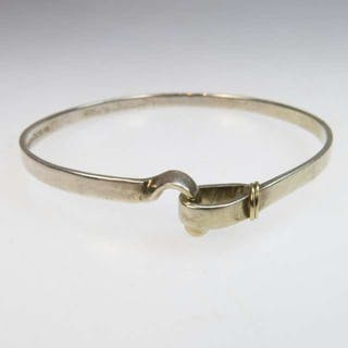 Tiffany & Co Sterling Silver And 18k Yellow Gold Bangle -