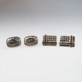 2 Pairs Of Sterling Silver Cufflinks -