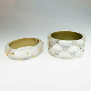 Two Alexis Bittar Clear Carved Lucite Spring Hinged Bangles -