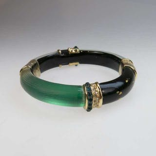 Alexis Bittar Carved Green Lucite And Gold Tone Metal Spring Hinged Bangle -